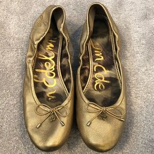Sam Edelman Gold Ballerina Flats